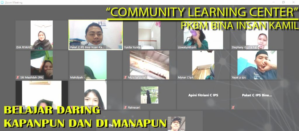 pembelajaran online setiap hari minggu pkbm bina insan kamil